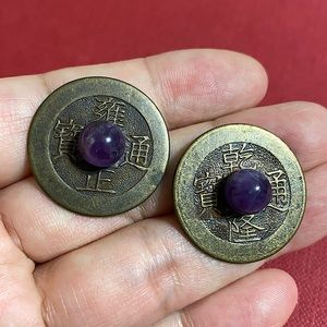 🖤Vintage Chinese coin & amethyst earrings